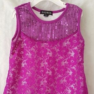George Purple/White Floral Lace Shirt